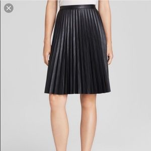 Calvin Klein faux leather pleated skirt